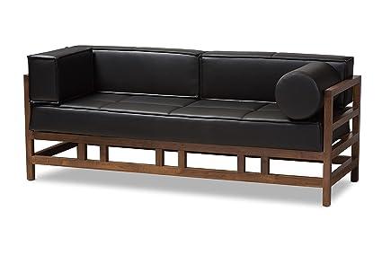 Amazon.com: Baxton Studio Gavina Mid-Century Modern Pine Black Faux ...