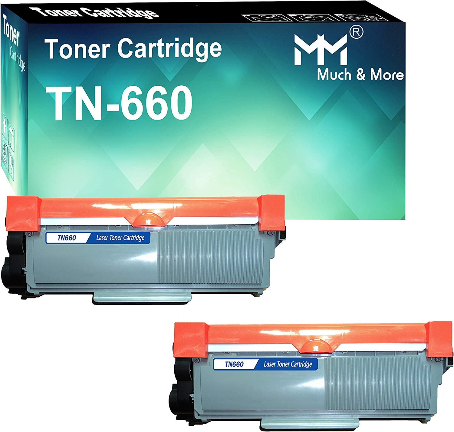 Much&More (2-Pack) Compatible Toner Cartridge Replacement for Brother TN660 TN-660 Used for Brother HL-L2300D L2365DW L2340DW L2320D L2360DW DCP-L2520DW L2540DW MFC-L2740DW