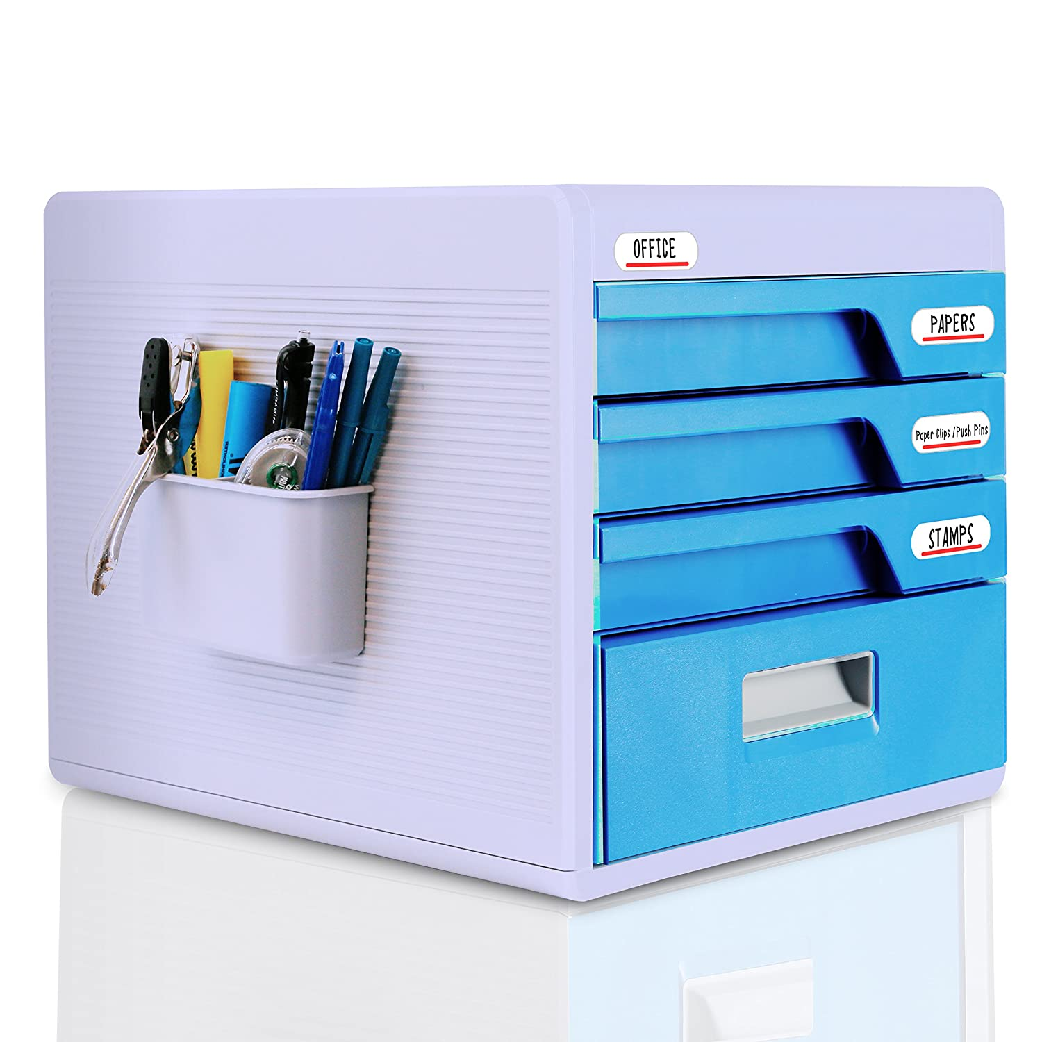 SereneLife Office Desk Organizer with Drawer Cabinet Lock - Home Desktop File Storage Box w/ 4 Locking Drawers, Great for Filing & Organizing Paper Documents, Tools, Kids Craft Supplies - (SLFCAB20)