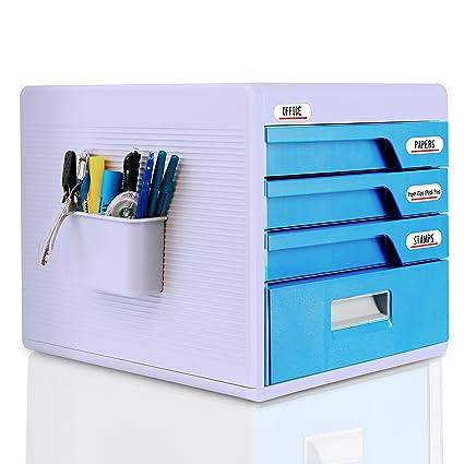 Locking Drawer Cabinet Desk Organizer   Home Office Desktop File Storage  Box W/4 Lock