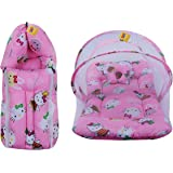 Fareto New Born Baby Gift Pack Combo of Baby Sleeping Bag & Mosquito Net Bed(0-6 Months,Pink)(Teddy Print)