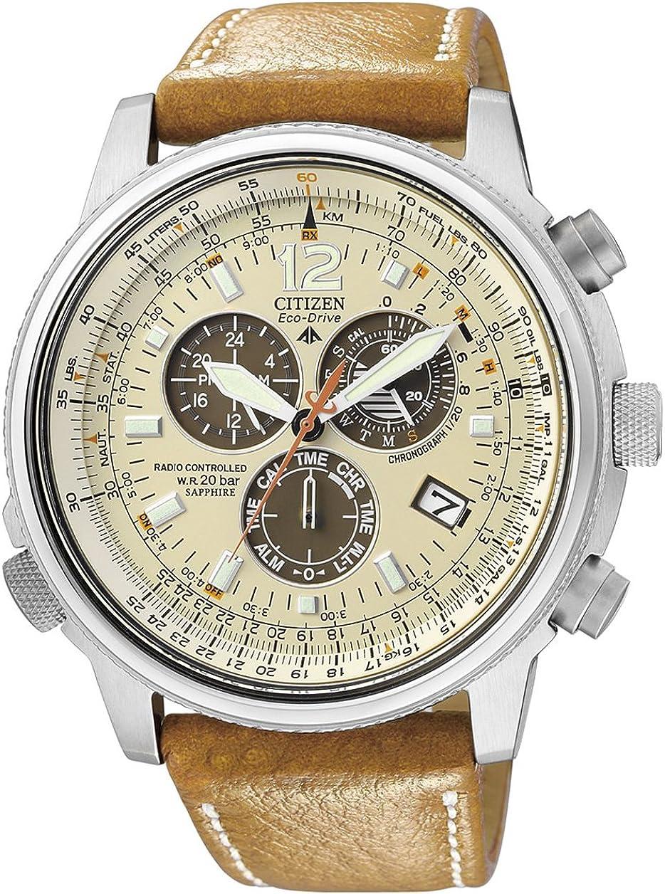 Citizen AS4020-44B - Reloj cronógrafo de Cuarzo para Hombre, Correa de Piel de Borrego Color marrón