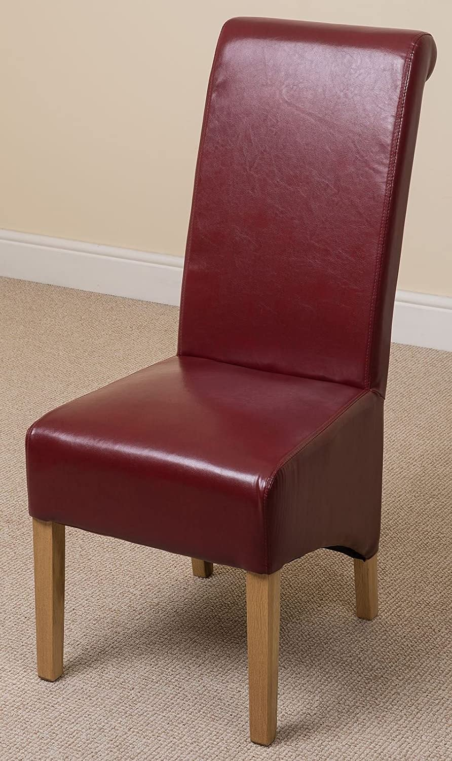 MODERN FURNITURE DIRECT MONTANA LEATHER DINING CHAIR BURGUNDY Amazoncouk Kitchen Home