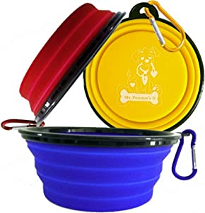 Collapsible Dog Bowls with Color Matched Carabiner Clips - Dishwasher Safe BPA FREE Food Grade Silicone Portable Pet Bowls - Perfect Foldable Travel Bowls for Journeys, Hiking, Kennels & Camping
