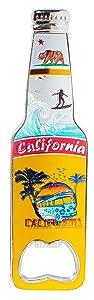 California Bottle Opener Heavy Duty Metal Souvenir Refrigerator Magnet (Surfer Camper Van)