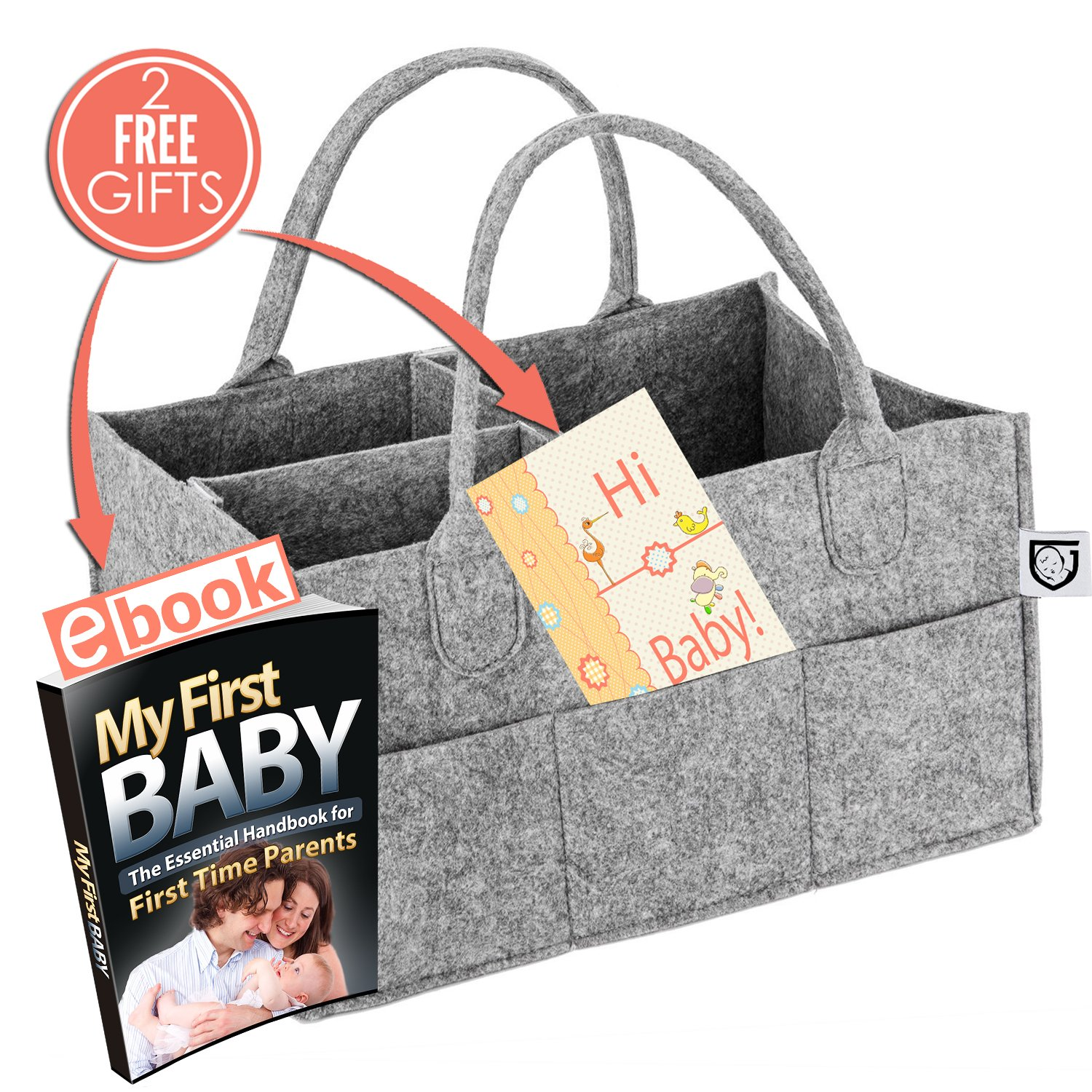Baby Diaper Caddy Portable Organizer Storage Basket - Customizable Compartments to Carry More Items - Durable and Lightweight Nursery Travel Bin - Free Baby Shower Gifts Postcard is Included!