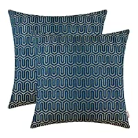 BRAWARM Pack of 2 Soft Jacquard Throw Pillow Covers Cases for Couch Sofa Bed Vintage Chevron Geometric Figure Cushion Covers Both Sides for Home Decoration Deep Sea Blue 18 X 18 Inches