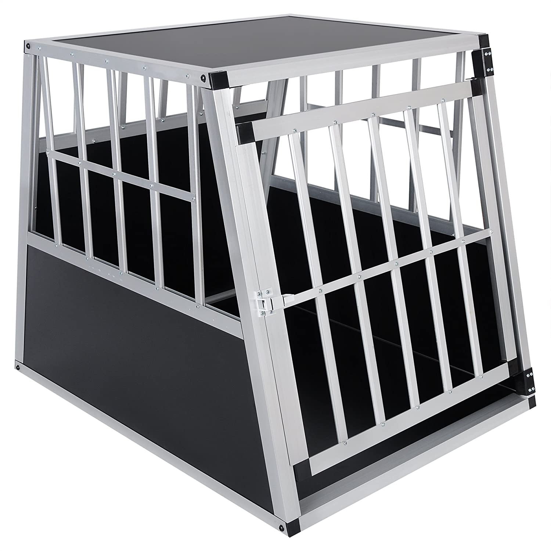 E-starain Gabbie da Trasporto per Cani Cani Cani in Alluminio, Porta-Animali per Viaggio, Gabbia per Cani Gatto Animali Piccoli, colore Nero, 85x65x69cm bc653c