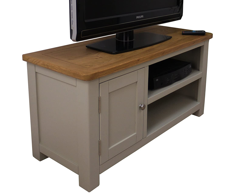 Aspen Painted Oak Sage Grey Small TV Plasma DVD Video Stand TV