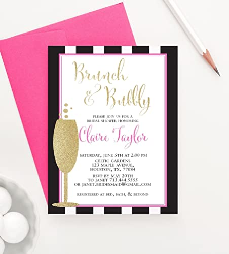 Amazoncom Brunch and Bubbly Bridal Shower Invitations Faux