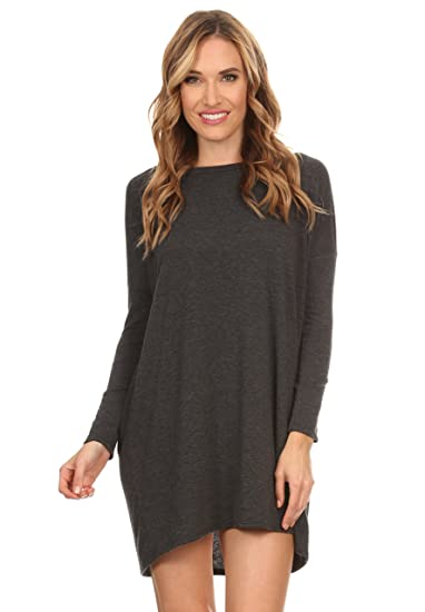089a707c7869 A+D Womens Oversized Soft Baby French Terry Knit Tunic Dress (Charcoal