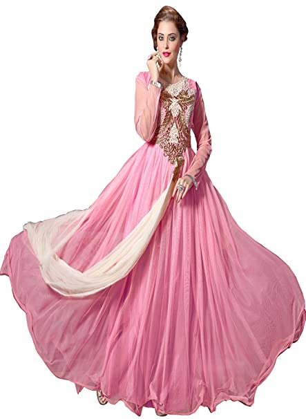 ed5af082009 Blissta Pink Embroidered Party Wear Unstitched Net Long Gown  Amazon.in   Clothing   Accessories