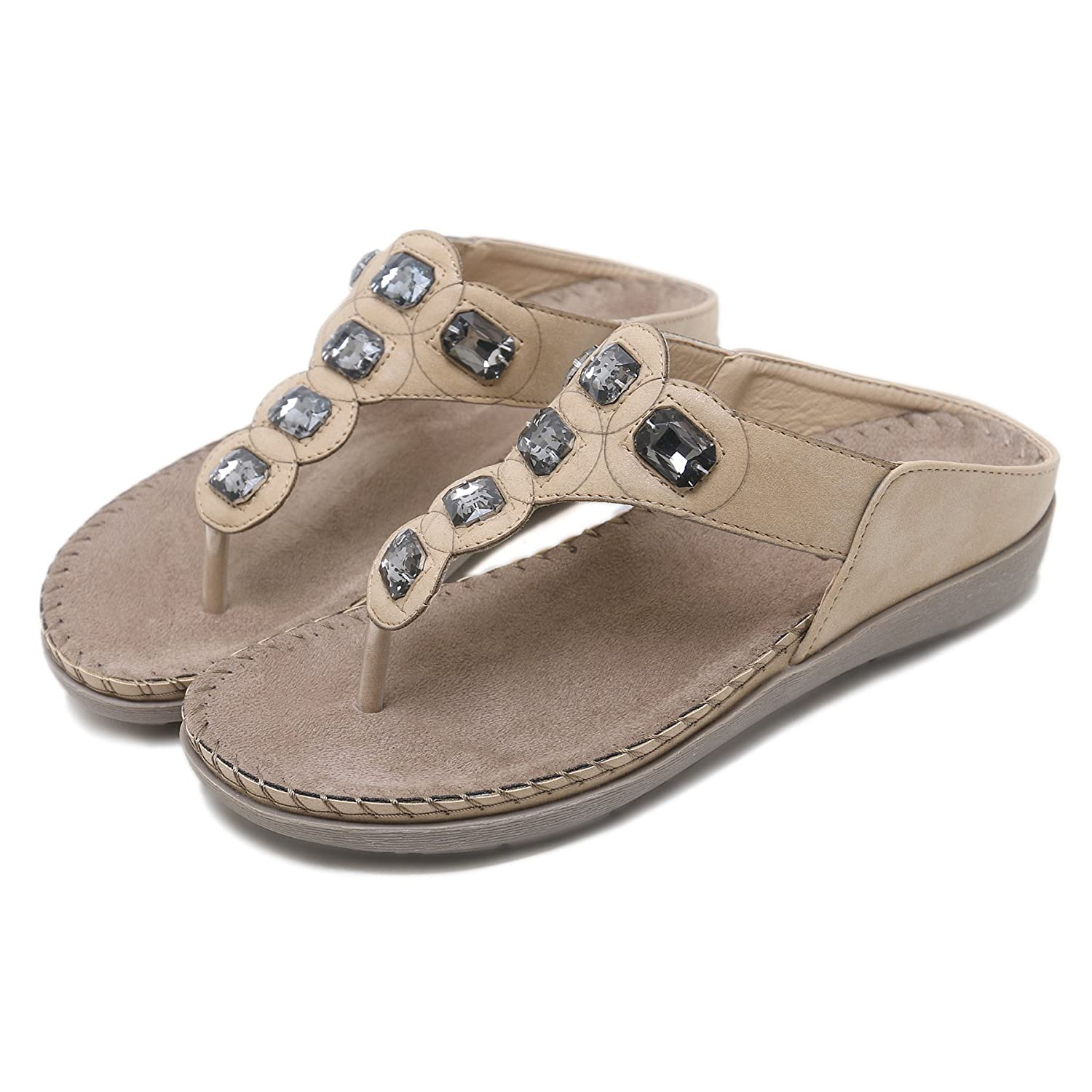 APTRO Womens Flip Flops Slippers Toe Post Flat Sandals Summer Post Thong Low Wedge Ergonomic Beach Shoe with Crystal