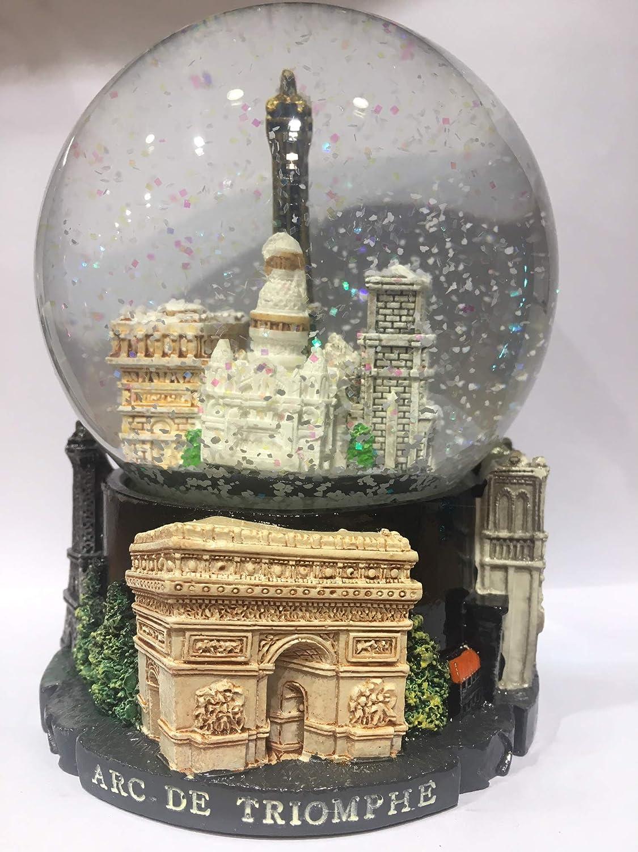 base nera in plastica di qualit/à con Skyline rame Palla di neve Torre Eiffel sfera in vetro con Torre Eiffel rame 10 cm VIANAYA neve bianca classica misura media
