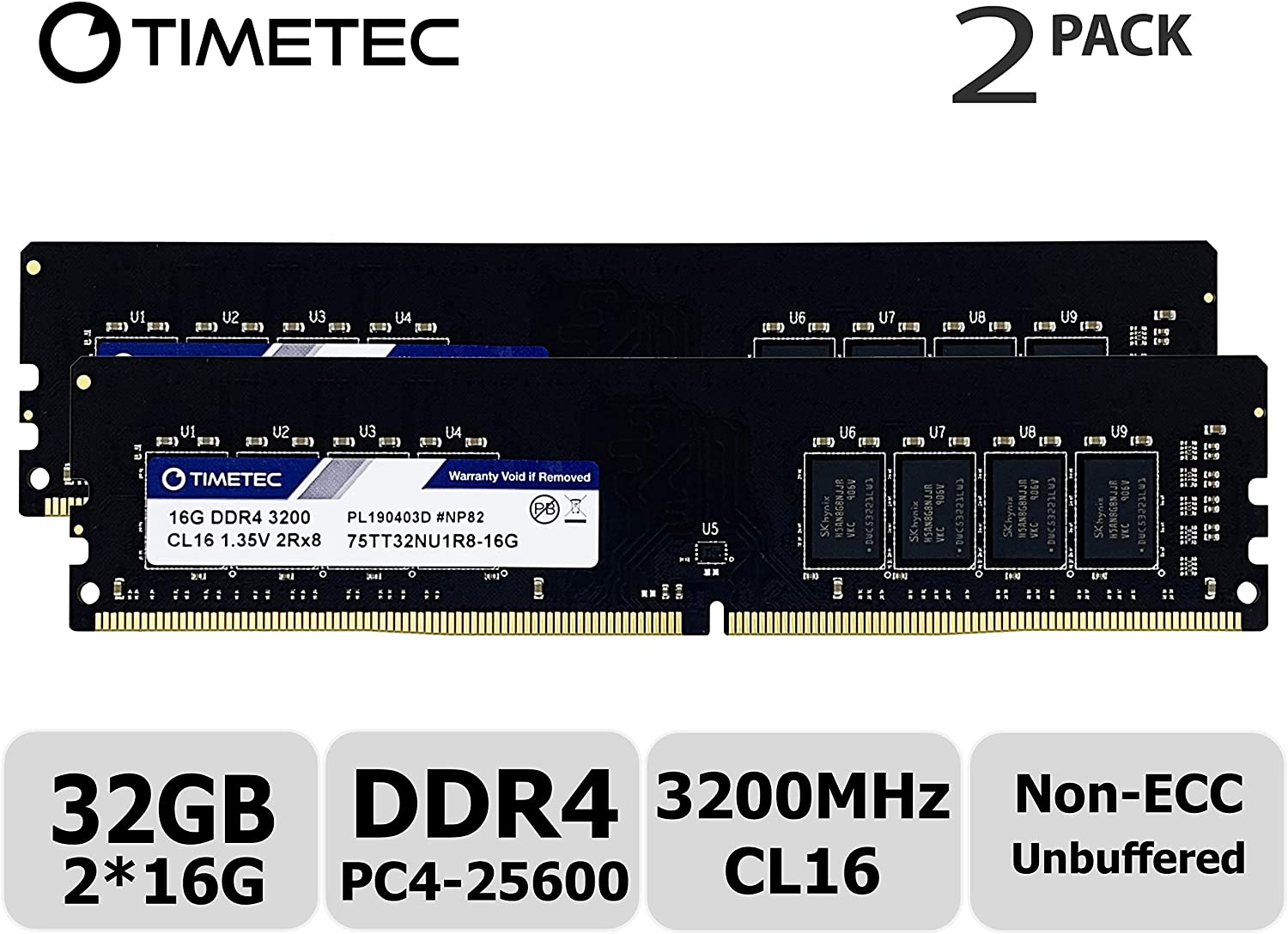Timetec Extreme Performance Hynix IC 32GB KIT(2x16GB) DDR4 3200MHz PC4-25600 CL16 1.35V Unbuffered Non-ECC for Gaming and High-Performance Compatible with AMD and Intel Desktop Memory(32GB KIT(2x16GB)