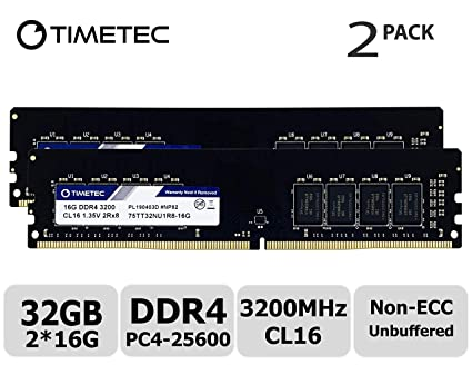 Timetec Extreme Performance Hynix IC 32GB KIT(2x16GB) DDR4 3200MHz  PC4-25600 CL16 1 35V Unbuffered Non-ECC for Gaming and High-Performance  Compatible
