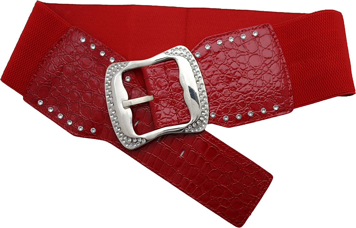 TFJ Women Fashion Wide Elastic Belt Hip Waist Silver Metal Bling Buckle M L Red