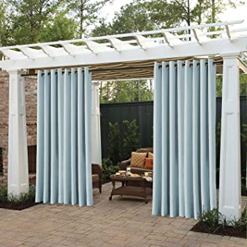 Gazebo Cabana Olive 52 Wx84 L Inch cololeaf Outdoor Curtain for Patio Waterproof Grommet Top Thermal Insulated Blackout Outdoor Curtain Drape for Patio Porch Pergola 1 Panel