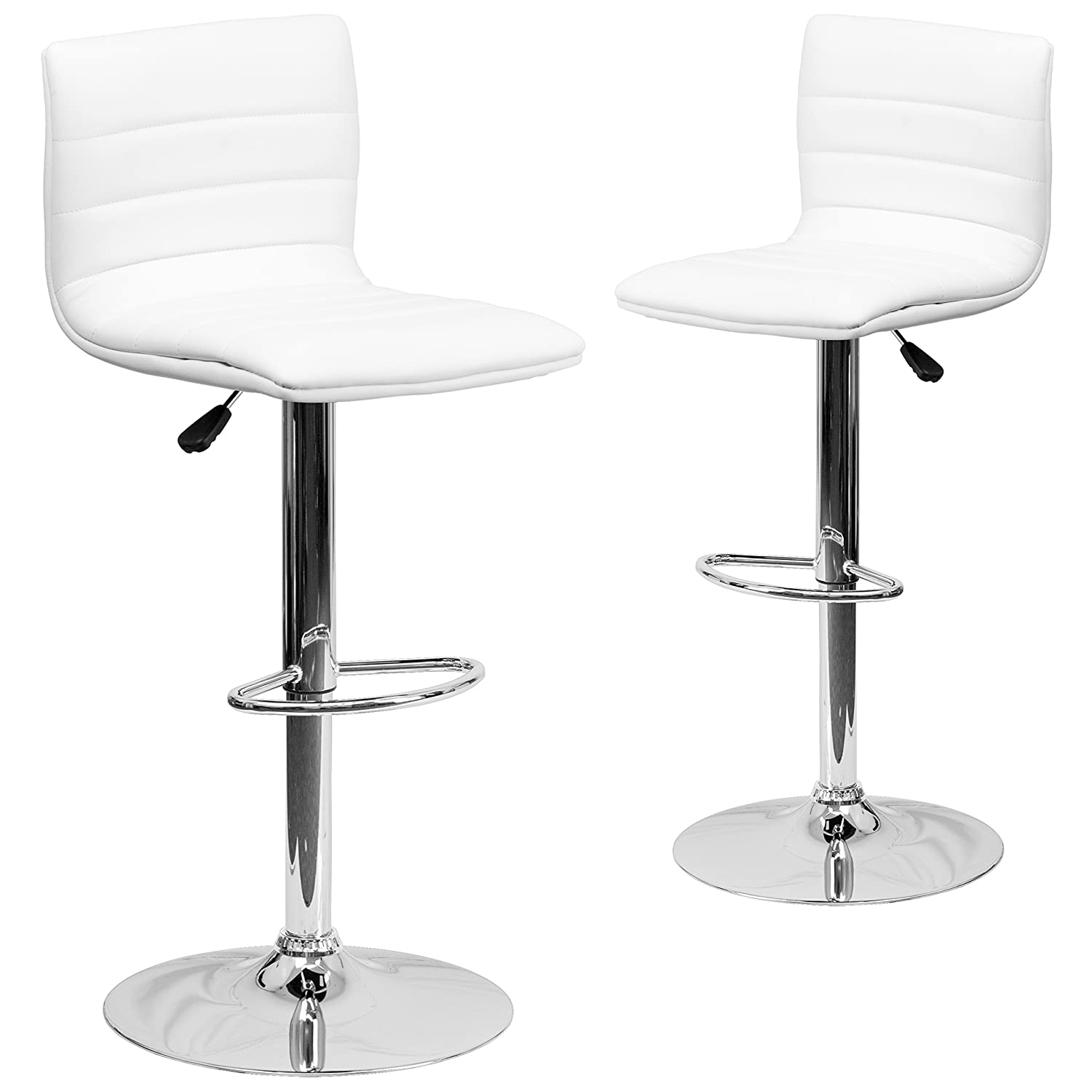 Flash Furniture 2 Pk. Contemporary White Vinyl Adjustable Height Barstool with Horizontal Stitch Back and Chrome Base – 2-CH-92023-1-WH-GG