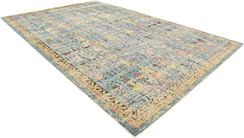 Unique Loom Monterey Collection Vintage Bohemian Tribal Distressed Blue Area Rug 10 6 x 16 5
