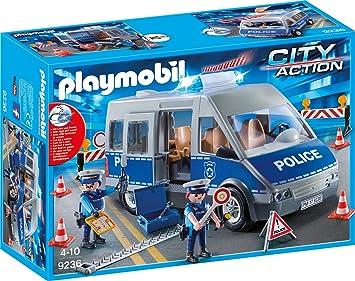 Playmobil 9236 Polizeibus Mit Straßensperre Amazon De Spielzeug