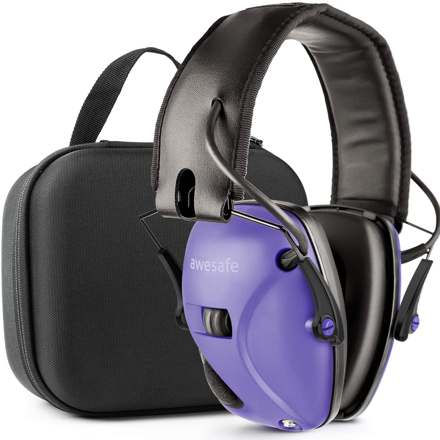 Awesafe Ear Protection for Shooting Range,Electronic Hearing Protection for Impact Sport [with Travel Storage Carrying Case Bag],Safety Ear Muffs, NRR 22, Ideal for Shooters and Hunting,Purple by awesafe