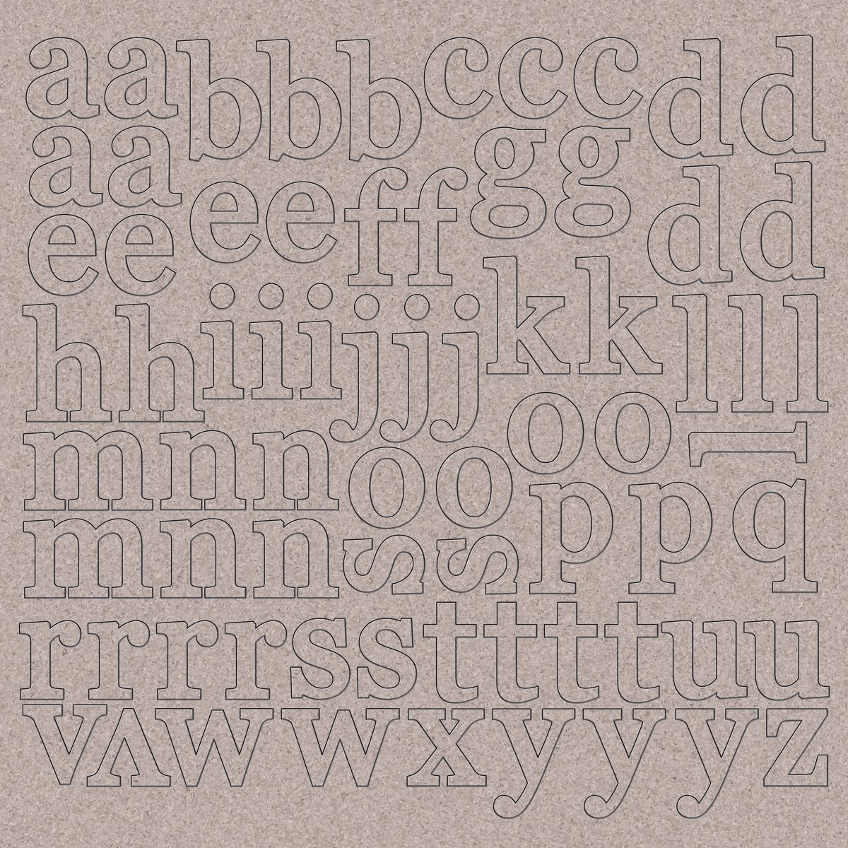Kaisercraft Chipboard Alphabet 12-Inchx12-Inch-1-Inch Lowercase Letters CB151
