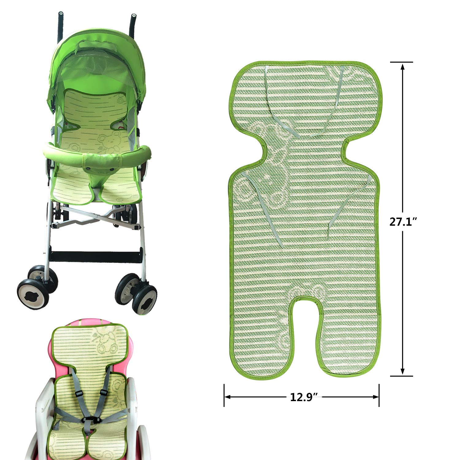 B Topwon Natural Rattan Summer Cooling Mat for Baby Stroller 2 Pack