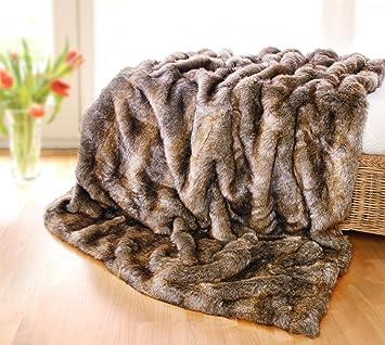 fourrure couvre lit Grande couverture/couvre lit en fausse fourrure de loutre 220 x  fourrure couvre lit