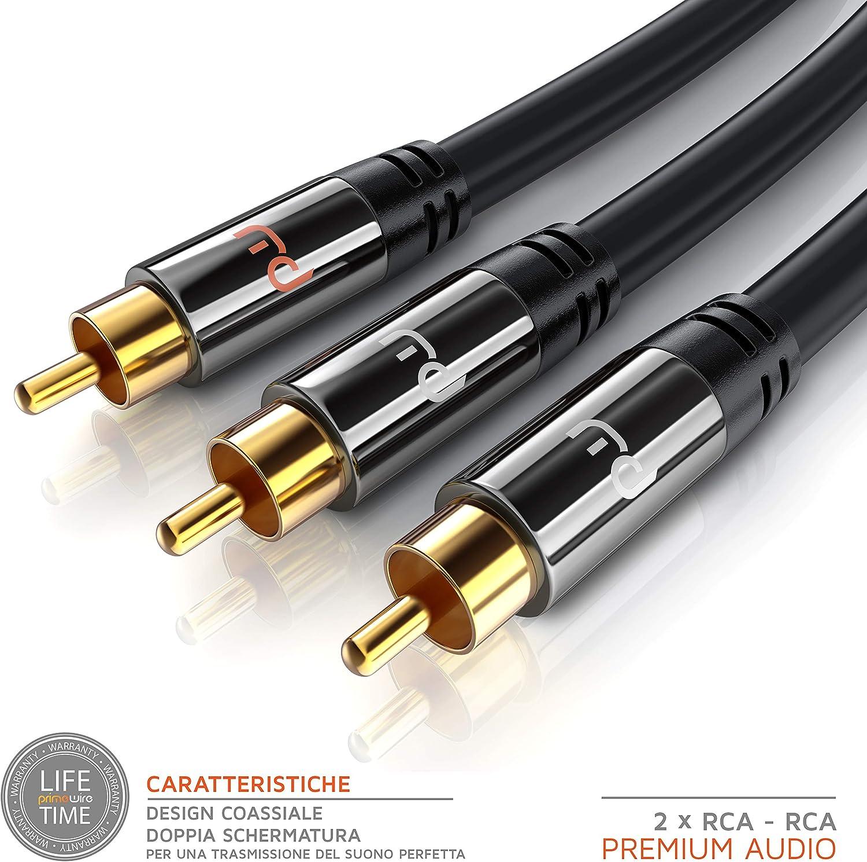 Compatibile con Ogni Tipo di Collegamento RCA 2X RCA Maschio a 2X RCA Maschio 7,5m Cavo RCA Stereo Primewire Serie Premium HQ