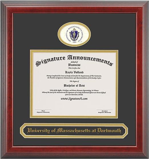 Signature Announcements University-of-Massachusetts-Dartmouth Undergraduate Sculpted Foil Seal Graduation Diploma Frame 16 x 16 Cherry