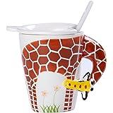 Ponerine Mug With Handle Ceramics Glass Coffee 3D Porcelain Animals Cup Cute Giraffe Creative