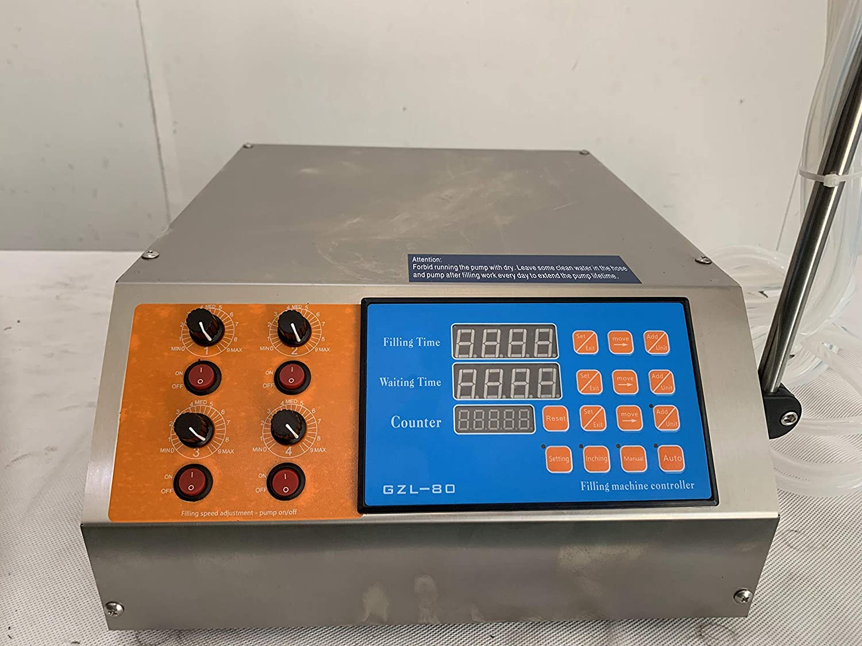 Hanchen 4L Liquid Filling Machine Digital Control Filler Diaphragm Pump Bottle Filler for CBD, MCT Oil, Milk, Beverage, Water, Juice, Essential Oil 110v (4 Head)