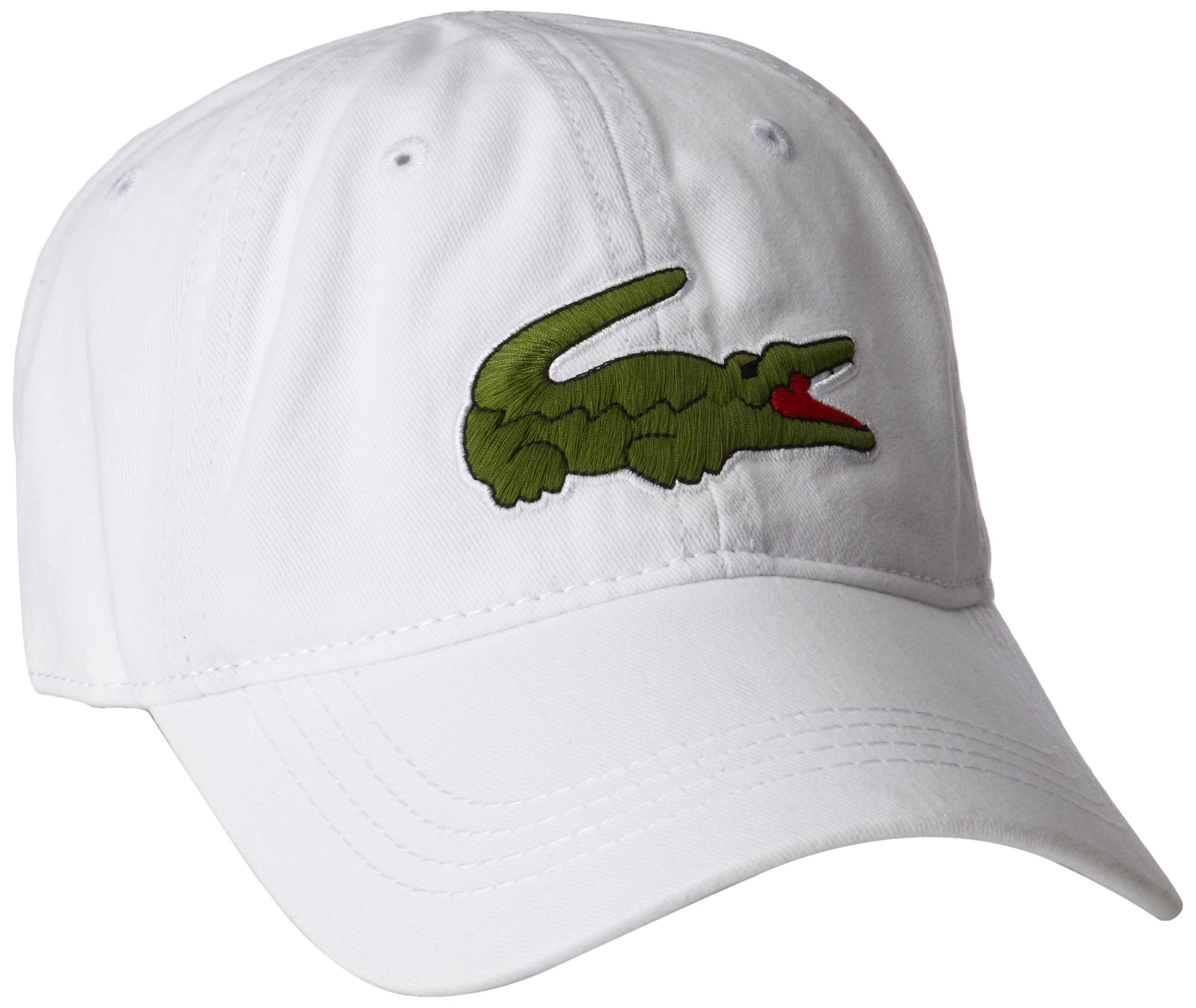 80ea1bcd652 Lacoste Men s Gabardine Cap with Large Crocodile White One Size ...