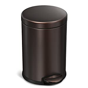 simplehuman 4.5 Liter / 1.2 Gallon Compact Stainless Steel Round Bathroom Step Trash Can, Dark Bronze Stainless Steel