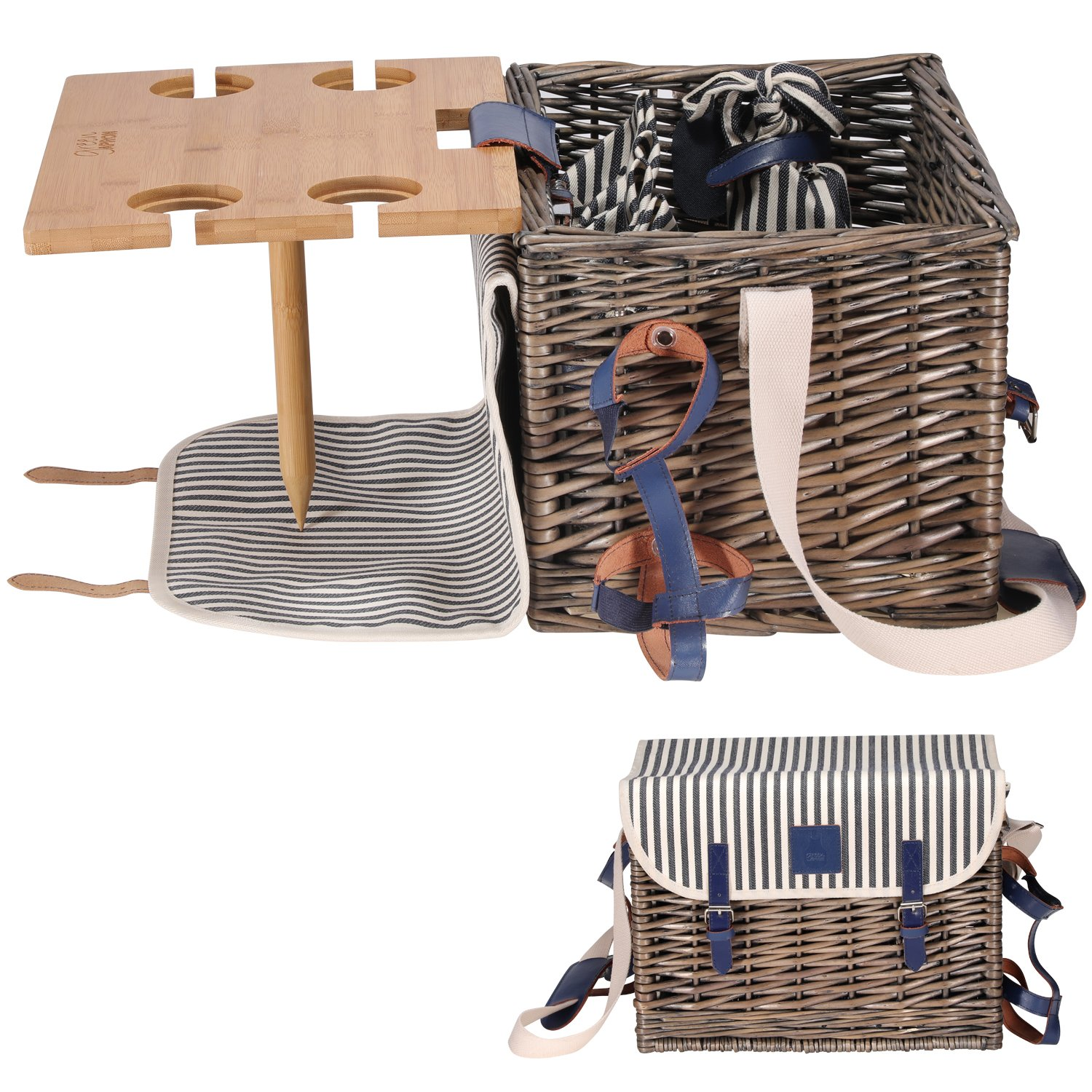 VAULTSAC Picnic Basket Set - Removable Bamboo Table - Cotton Canvas Top Cover [4 Person Set] Waterproof Picnic Blanket, Ceramic Plates, Metal Flatware, Wine Glasses Wooden Bottle Opener Picnic Set by VAULTSAC
