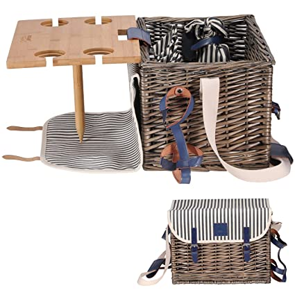 Picnic Basket Set - Removable Bamboo Table - Cotton Canvas Top Cover [4 Person Set  sc 1 st  Amazon.com & Amazon.com : Picnic Basket Set - Removable Bamboo Table - Cotton ...