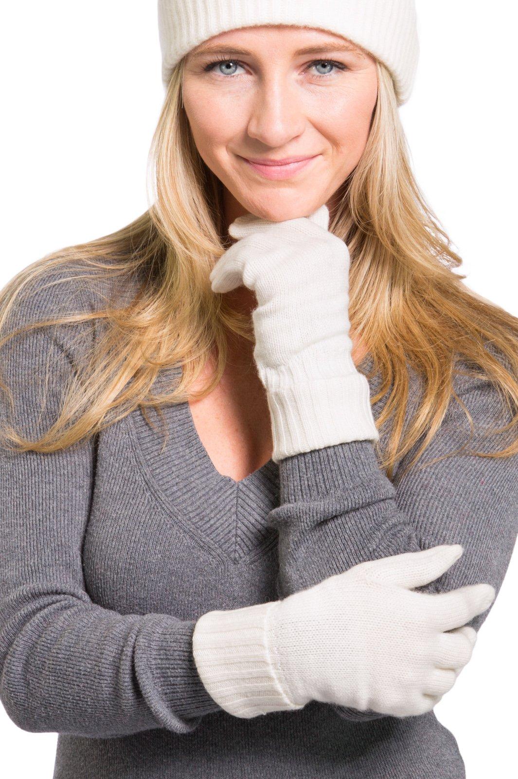 Fishers Finery Women's 100% Pure Cashmere Gloves Ultra Plush Ribbed Cuff Cream
