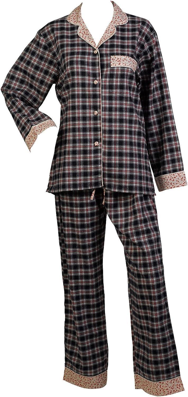 Womens combed cotton Tartan Pattern Pyjamas Long Sleeved Detailed Top Pjs Set