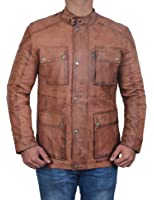 Decrum Brown Leather Jacket Men - Genuine Slim Fit Distressed Motorcycle Jacket