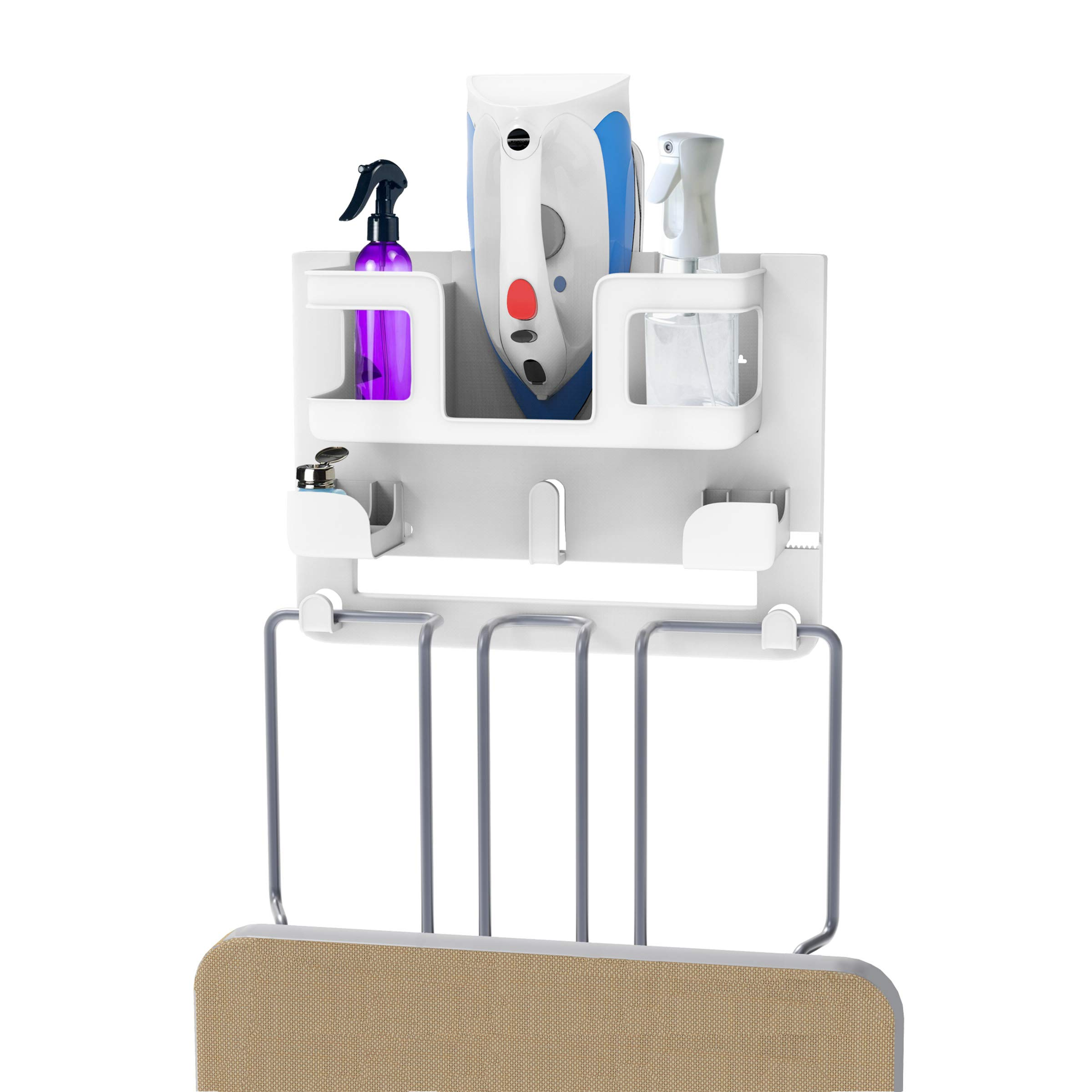 Lavish Home Organizer-Wall Mount Laundry Room Supplies Holder for Iron, Board, Spray Bottles, Starch and More-Space Saving Essential