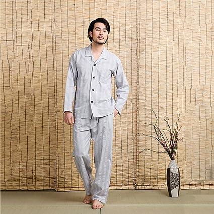 Xi Man Shop Traje de Pijama de algodón para Hombres de Dos Piezas Solapa marrón Azul