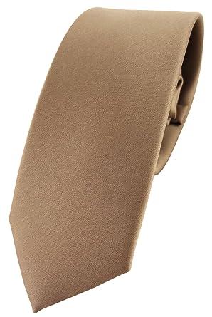 fd8badd7e1b24 TigerTie étroit satin cravate brun doré brun beige unicolor - Tie Polyester