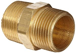 """Anderson Metals Brass Pipe Fitting, Hex Nipple, 1"""" x 1"""" Male Pipe"""
