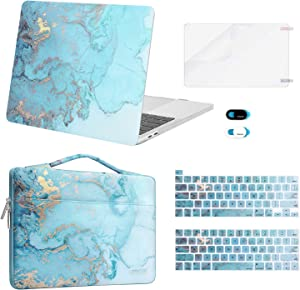 MOSISO Compatible with MacBook Pro 13 inch Case 2016-2020 A2338 M1 A2289 A2251 A2159 A1989 A1706 A1708, Plastic Watercolor Marble Hard Case&Bag&Keyboard Skin&Webcam Cover&Screen Protector, Turquoise