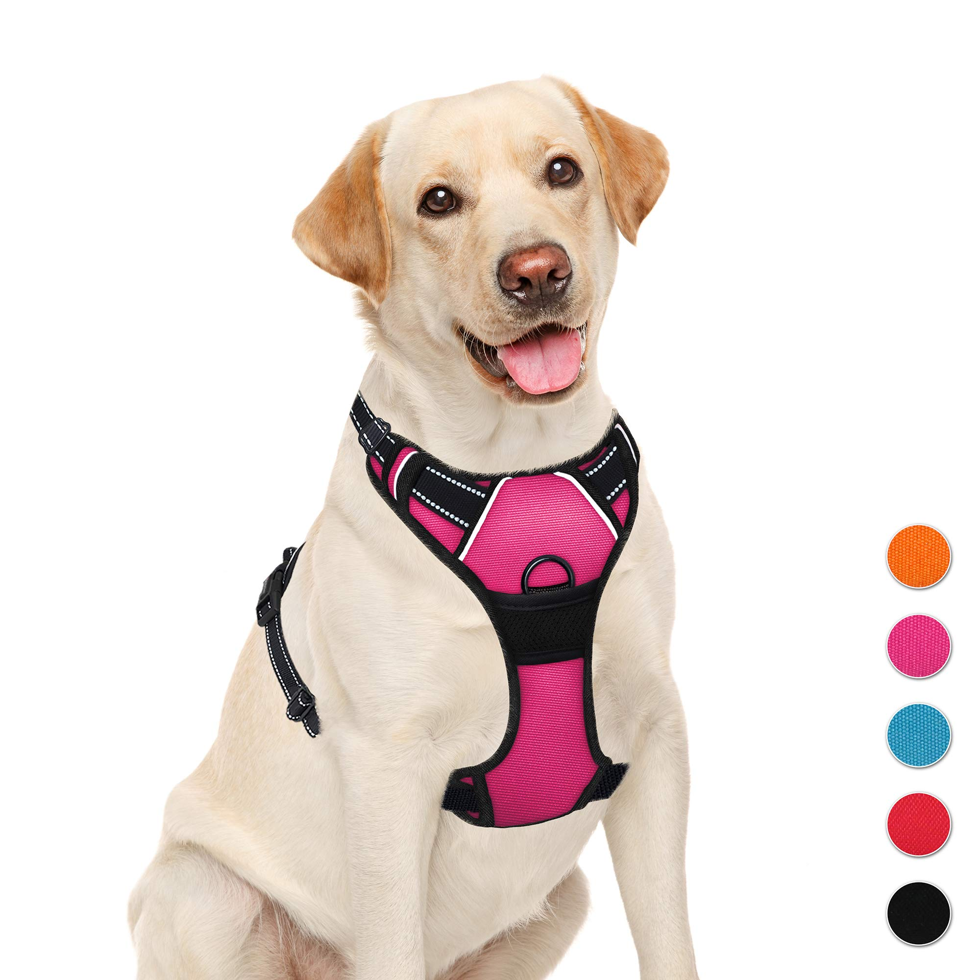 BARKBAY No Pull Pet Harness  Dog Harness Adjustable Outdoor Pet Vest 3M Reflective Oxford Material Vest for PINK Dogs Easy Control for Small Medium Large Dogs (L) by BARKBAY