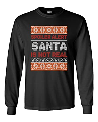 long sleeve adult t shirt spoiler alert santa is not real christmas holiday funny dt