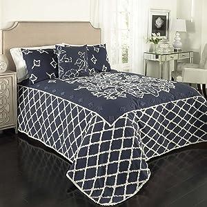 Beatrice Home Fashions Grotto Chenille Bedspread, Twin, Blue