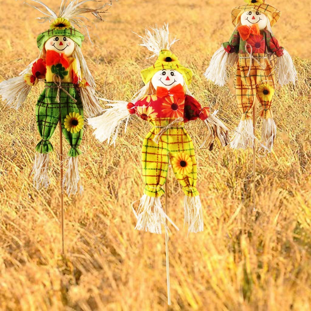 Herbst Ernte Vogelscheuchen Dekoration von IFOYO Vogelscheuche auf einem Stab Halloween Dekorationen für Garten Haus Hof Veranda
