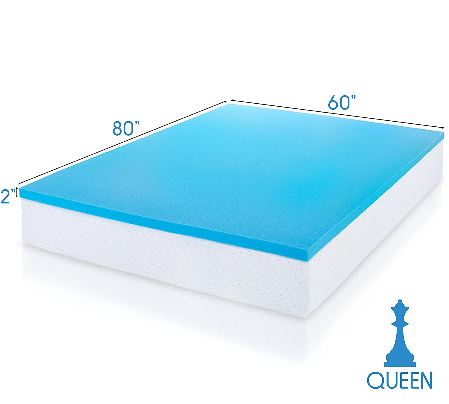 Density 2-Inch Gel Infused Memory Foam Queen Mattress Topper: Home & Kitchen - Amazon.com: ViscoSoft 3 Lbs. Density 2-Inch Gel Infused Memory